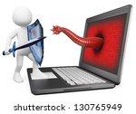 3d white person. antivirus... | Shutterstock . vector #130765949