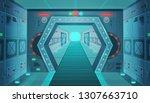 corridor with a door in a... | Shutterstock .eps vector #1307663710