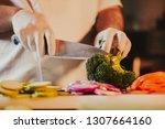 Kitchen Chef Wearing Gloves An...