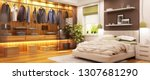 modern wardrobe in modern... | Shutterstock . vector #1307681290