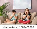 emotional little children... | Shutterstock . vector #1307685733