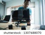 portrait of technician install... | Shutterstock . vector #1307688070