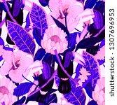 summer exotic seamless pattern. ...   Shutterstock . vector #1307696953
