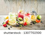 selection various fruit and... | Shutterstock . vector #1307702500
