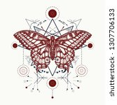 esoteric magic butterfly... | Shutterstock .eps vector #1307706133