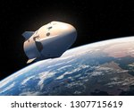 commercial spacecraft in outer... | Shutterstock . vector #1307715619