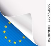 curled corner of white paper on ... | Shutterstock .eps vector #1307718070