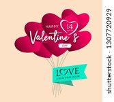 balloons red heart valentine's...   Shutterstock .eps vector #1307720929