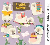 funny cartoon llamas alpaca... | Shutterstock .eps vector #1307723113