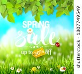 spring sale flyer with leaves... | Shutterstock .eps vector #1307749549