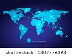 world map and communications... | Shutterstock .eps vector #1307776393