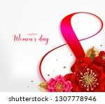 8 march. pink floral greeting... | Shutterstock .eps vector #1307778946