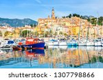 colorful luxury town menton in... | Shutterstock . vector #1307798866