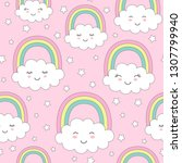 seamless pattern with cute... | Shutterstock .eps vector #1307799940