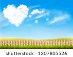 nature background with blue sky ... | Shutterstock .eps vector #1307805526