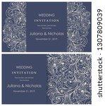 wedding invitation cards.  hand ...   Shutterstock .eps vector #1307809039