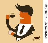 businessman drinking coffee | Shutterstock .eps vector #130781750