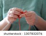 knitting. women knitts. hands... | Shutterstock . vector #1307832076