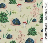 seamless pattern with snail ... | Shutterstock .eps vector #1307837710