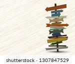 direction road signs. vintage... | Shutterstock .eps vector #1307847529
