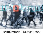 face recognition technology... | Shutterstock . vector #1307848756
