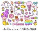 big stickers pack. kawaii... | Shutterstock .eps vector #1307848870