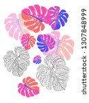 vector tropical pattern with... | Shutterstock .eps vector #1307848999