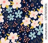 vector wildflowers pattern....   Shutterstock .eps vector #1307850856