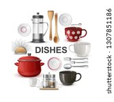realistic dishes and cutlery... | Shutterstock .eps vector #1307851186