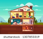 two storey cottage house cross... | Shutterstock .eps vector #1307853319
