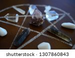 healing crystals  clear quartz  ... | Shutterstock . vector #1307860843