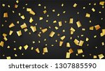 golden confetti falling on... | Shutterstock .eps vector #1307885590