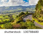 Aerial view to settlement and fields near mountains, San Miguel, Azores, Portugal - stock photo