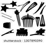 black silhouette. set of hair... | Shutterstock .eps vector #1307890390