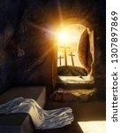 He Is Risen. Empty Tomb With...
