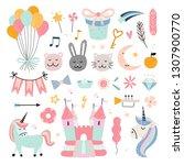 happy birthday kids vector set. ... | Shutterstock .eps vector #1307900770
