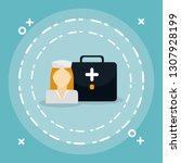 medical nurse with medical kit | Shutterstock .eps vector #1307928199