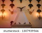 old fireplace in castle room...   Shutterstock . vector #1307939566