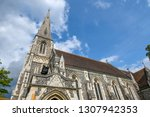 the facade  tower and spire of... | Shutterstock . vector #1307942353