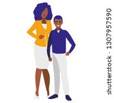 black mother with son characters | Shutterstock .eps vector #1307957590