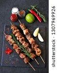 fresh hot kebab with rosemary ... | Shutterstock . vector #1307969926