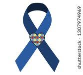 autism awareness ribbon  ... | Shutterstock .eps vector #1307974969