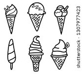 collection of vector ice cream... | Shutterstock .eps vector #1307977423