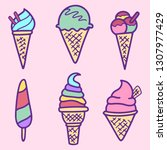 collection of vector ice cream...   Shutterstock .eps vector #1307977429