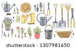 gardening tools and flowers...   Shutterstock . vector #1307981650