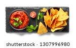 corn chips nachos and salsa... | Shutterstock . vector #1307996980