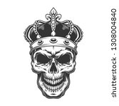 skull in the crown.  vintage... | Shutterstock . vector #1308004840