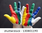 child hands painted in colorful ... | Shutterstock . vector #130801190
