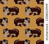 seamless geometrical animal... | Shutterstock .eps vector #1308024949