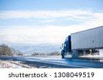 big rig pro long haul blue semi ... | Shutterstock . vector #1308049519
